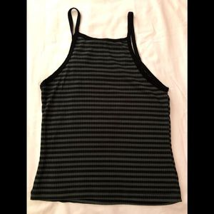 Black and olive striped racerback tank